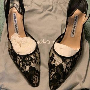 Manolo Blahnik Carolyne Black Lace